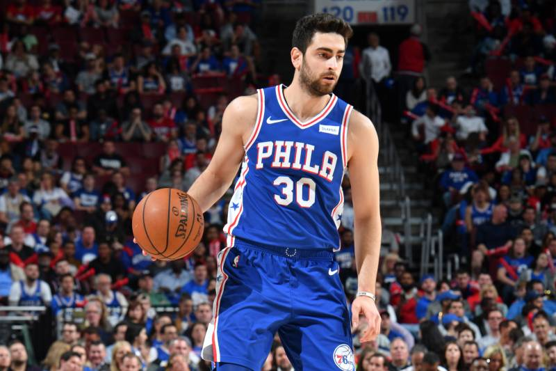 PHILADELPHIA, PA - April 23: Furkan Korkmaz #30 of the Philadelphia 76ers handles the ball against the Brooklyn Nets during Round One Game Five of the 2019 NBA Playoffs on April 23, 2019 at the Wells Fargo Center in Philadelphia, Pennsylvania NOTE TO USER: User expressly acknowledges and agrees that, by downloading and/or using this Photograph, user is consenting to the terms and conditions of the Getty Images License Agreement. Mandatory Copyright Notice: Copyright 2019 NBAE (Photo by Jesse D. Garrabrant/NBAE via Getty Images)