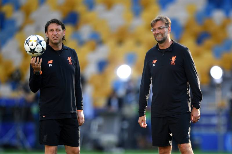 KIEV, UKRAINE - MAY 25:  Jurgen Klopp, Manager of Liverpool (R) and Peter Krawietz assistant coach of Liverpool look on during a Liverpool training session ahead of the UEFA Champions League Final against Real Madrid at NSC Olimpiyskiy Stadium on May 25, 2018 in Kiev, Ukraine.  (Photo by Shaun Botterill/Getty Images)