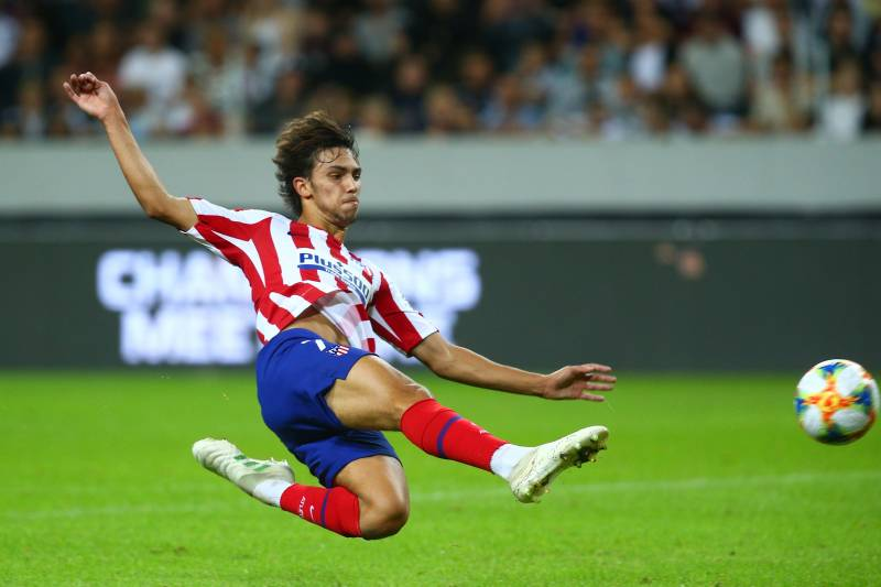 STOCKHOLM, SWEDEN - AUGUST 10:   Joao Felix of Atletico Madrid scores a goal to make the score 2-1 during the International Champions Cup match between Atletico Madrid and Juventus on August 10, 2019 in Stockholm, Sweden. (Photo by Charlie Crowhurst/International Champions Cup/Getty Images)