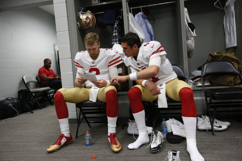 49ers GM John Lynch: No Trade Discussions for QBs Nick Mullens, C.J. Beathard