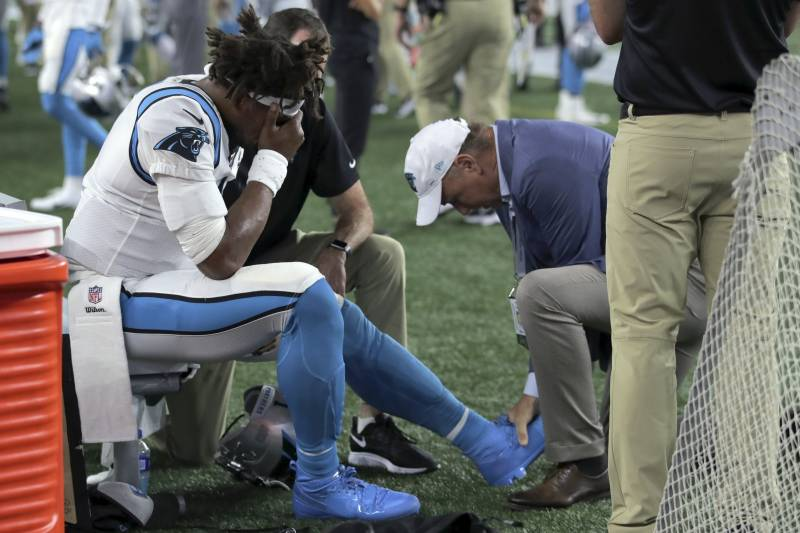 Image result for cam newton injury preseason