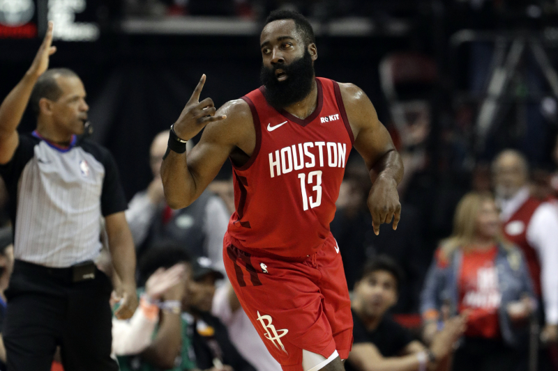 Rockets' James Harden Working on 1-Legged, Step-Back 3 in Effort to Improve Game