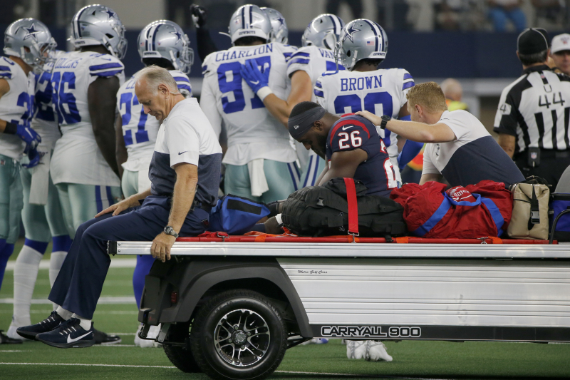 Texans RB Lamar Miller Carted Off vs. Cowboys After Suffering Knee Injury