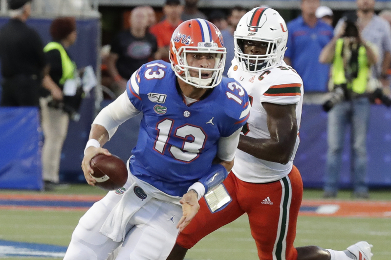 Feleipe Franks, No. 8 Florida Hang on to Beat Miami in Week 1 Rivalry Game
