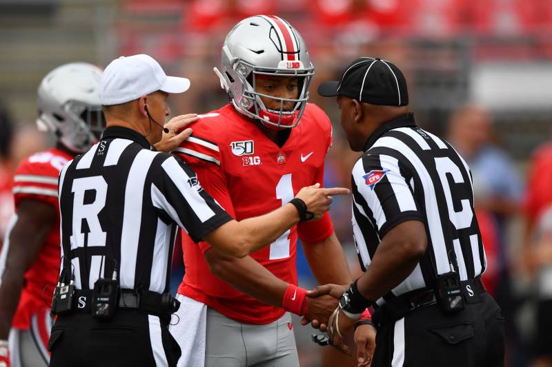 buy popular ab5c6 81188 Justin Fields Totals 5 TDs as No. 5 Ohio State Beats FAU 45 ...