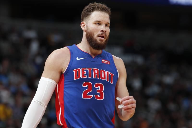 Detroit Pistons forward Blake Griffin (23) in the second half of an NBA basketball game Tuesday, March 26, 2019, in Denver. The Nuggets won 95-92. (AP Photo/David Zalubowski)