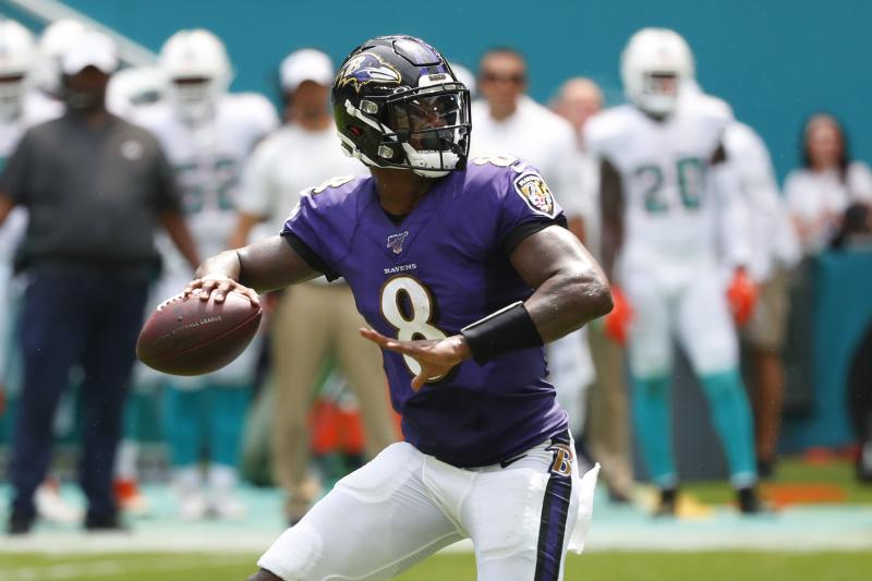 Ravens' Lamar Jackson on 5-TD Game vs. Dolphins: 'Not Bad for a Running Back'