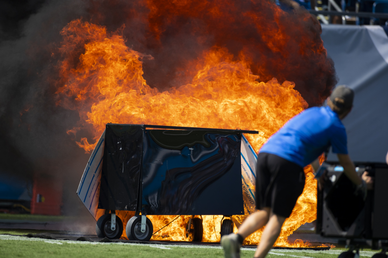 Video: Sideline Catches Fire Before Colts vs. Titans After Pyrotechnics Error
