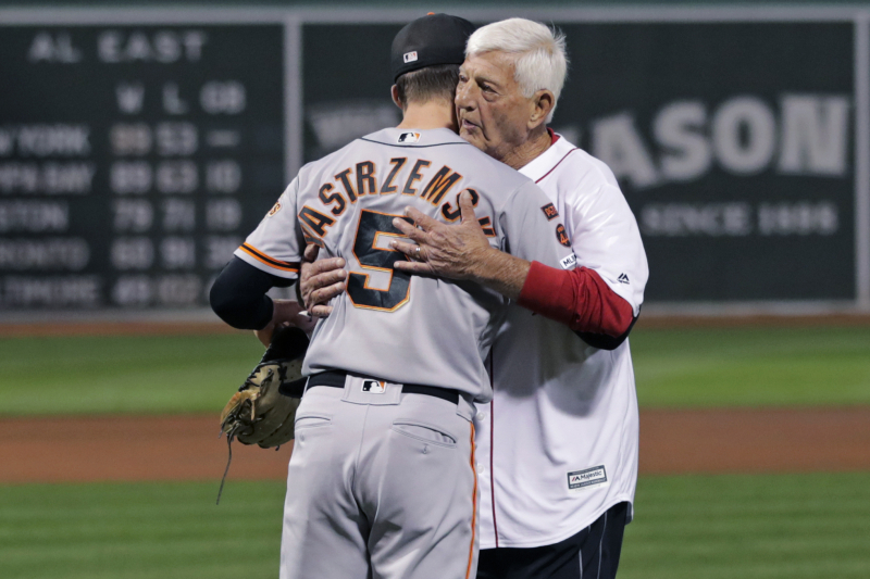 Video: Red Sox Legend Carl Yastrzemski Throws 1st Pitch to Grandson Mike