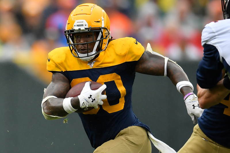 Packers' Jamaal Williams Taken to Hospital After Helmet-to-Helmet Hit vs. Eagles