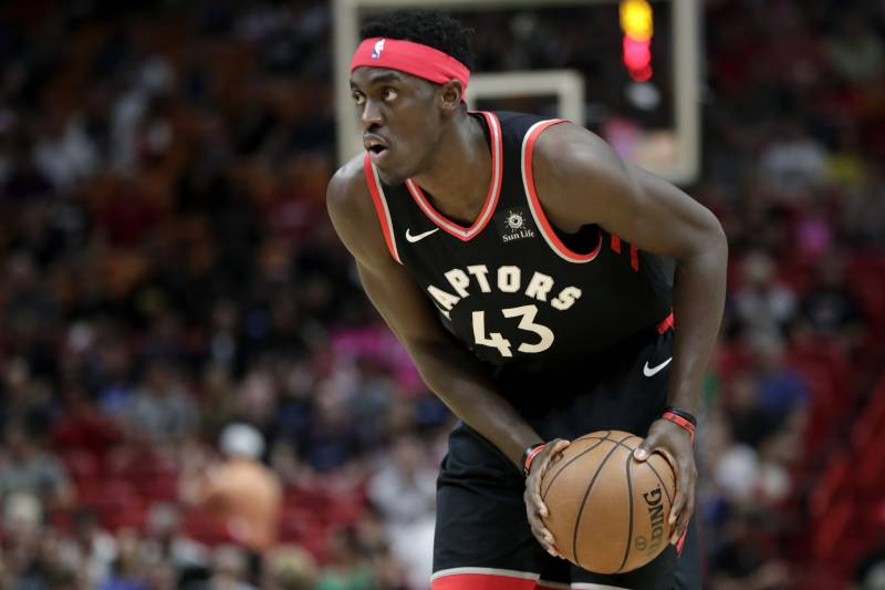 Toronto Raptors forward Pascal Siakam (43) looks to pass during the first half of an NBA basketball game against the Miami Heat, Sunday, March 10, 2019, in Miami. (AP Photo/Lynne Sladky)