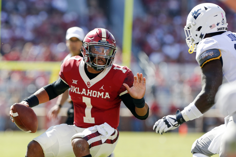 Red-Hot Jalen Hurts Scores 5 Total TDs as Oklahoma Crushes Austin Kendall, WVU