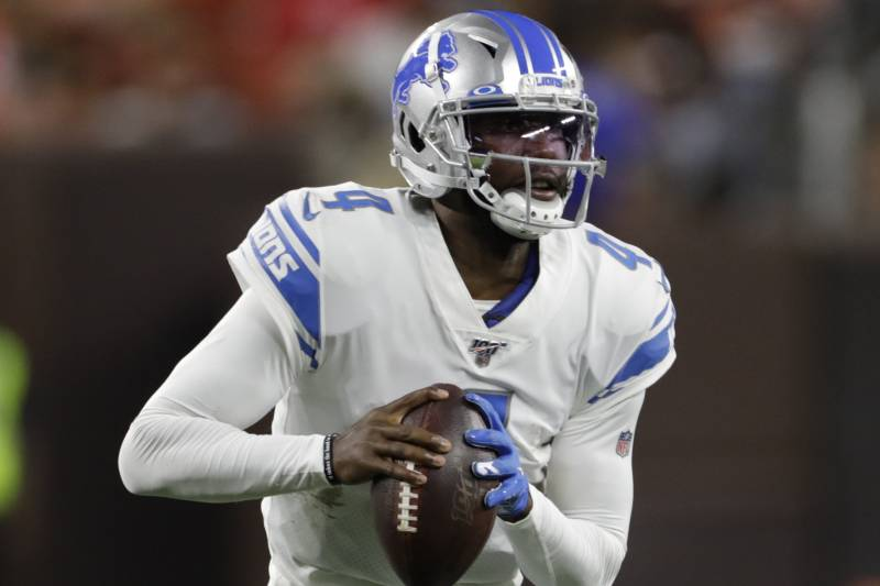 Detroit Lions quarterback Josh Johnson (4) plays against the Cleveland Browns during the second half of an NFL preseason football game, Thursday, Aug. 29, 2019, in Cleveland. (AP Photo/Ron Schwane)