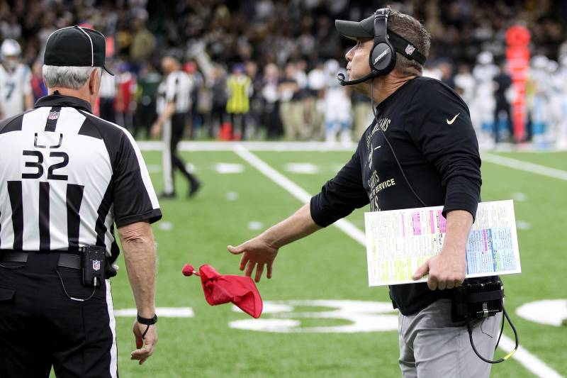 NEW ORLEANS, LOUISIANA - NOVEMBER 24: Head coach Sean Payton of the New Orleans Saints challenges a play against the Carolina Panthers during the first quarter in the game at Mercedes Benz Superdome on November 24, 2019 in New Orleans, Louisiana. (Photo by Chris Graythen/Getty Images)