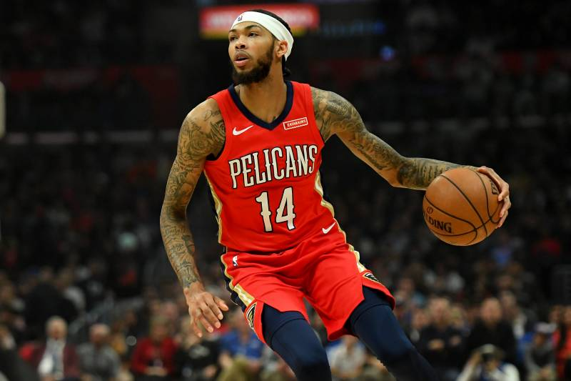 LOS ANGELES, CA - NOVEMBER 24: Brandon Ingram #14 of the New Orleans Pelicans drives to the basket in the game against the Los Angeles Clippers at Staples Center on November 24, 2019 in Los Angeles, California.  NOTE TO USER: User expressly acknowledges and agrees that, by downloading and/or using this Photograph, user is consenting to the terms and conditions of the Getty Images License Agreement. (Photo by Jayne Kamin-Oncea/Getty Images)