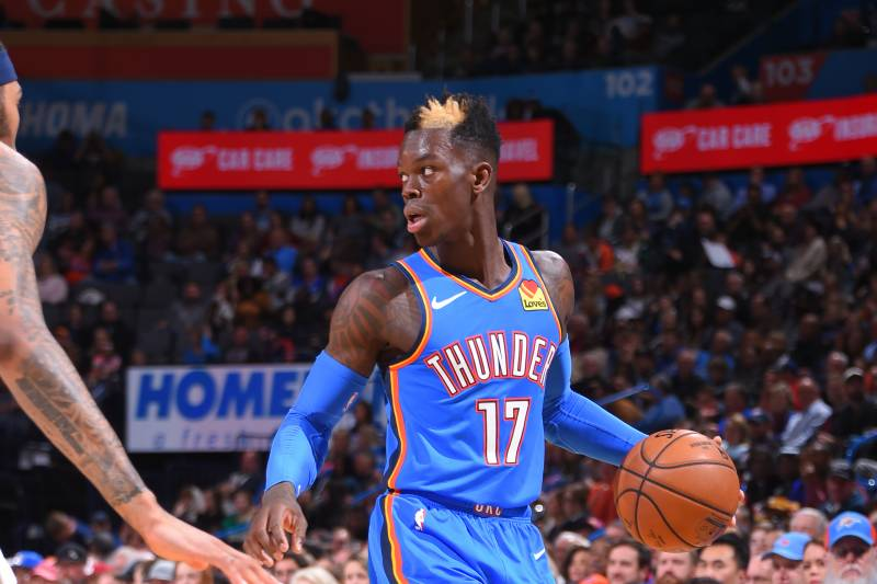 OKLAHOMA CITY, OK - NOVEMBER 29: Dennis Schroder #17 of the Oklahoma City Thunder handles the ball against the New Orleans Pelicans on November 29, 2019 at Chesapeake Energy Arena in Oklahoma City, Oklahoma. NOTE TO USER: User expressly acknowledges and agrees that, by downloading and or using this photograph, User is consenting to the terms and conditions of the Getty Images License Agreement. Mandatory Copyright Notice: Copyright 2019 NBAE (Photo by Bill Baptist/NBAE via Getty Images)