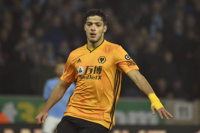 Wolverhampton Wanderers' Raul Jimenez during the English Premier League soccer match between Wolverhampton Wanderers and Manchester City at the Molineux Stadium in Wolverhampton, England, Friday, Dec. 27, 2019. (AP Photo/Rui Vieira)