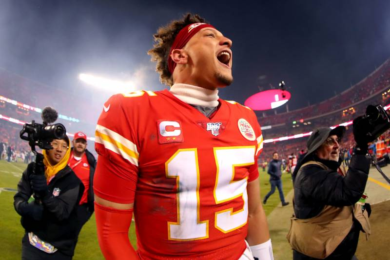 KANSAS CITY, MISSOURI - JANUARY 12:  Patrick Mahomes #15 of the Kansas City Chiefs celebrates his teams win against the Houston Texans in the AFC Divisional playoff game at Arrowhead Stadium on January 12, 2020 in Kansas City, Missouri. (Photo by Tom Pennington/Getty Images)