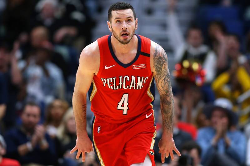 NEW ORLEANS, LOUISIANA - JANUARY 06: JJ Redick #4 of the New Orleans Pelicans reacts against the Utah Jazz during a game at the Smoothie King Center on January 06, 2020 in New Orleans, Louisiana. NOTE TO USER: User expressly acknowledges and agrees that, by downloading and or using this Photograph, user is consenting to the terms and conditions of the Getty Images License Agreement. (Photo by Jonathan Bachman/Getty Images)