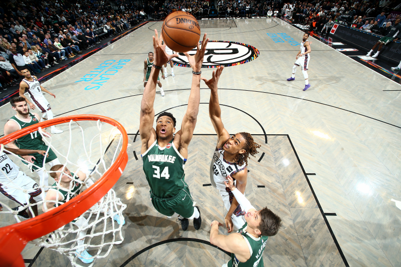 Giannis Scores 29 Points, Grabs 12 Rebounds as Bucks Rout Kyrie Irving, Nets