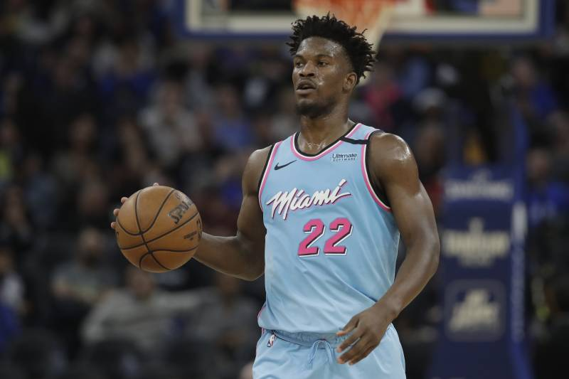 Miami Heat forward Jimmy Butler (22) against the Golden State Warriors during an NBA basketball game in San Francisco, Monday, Feb. 10, 2020. (AP Photo/Jeff Chiu)