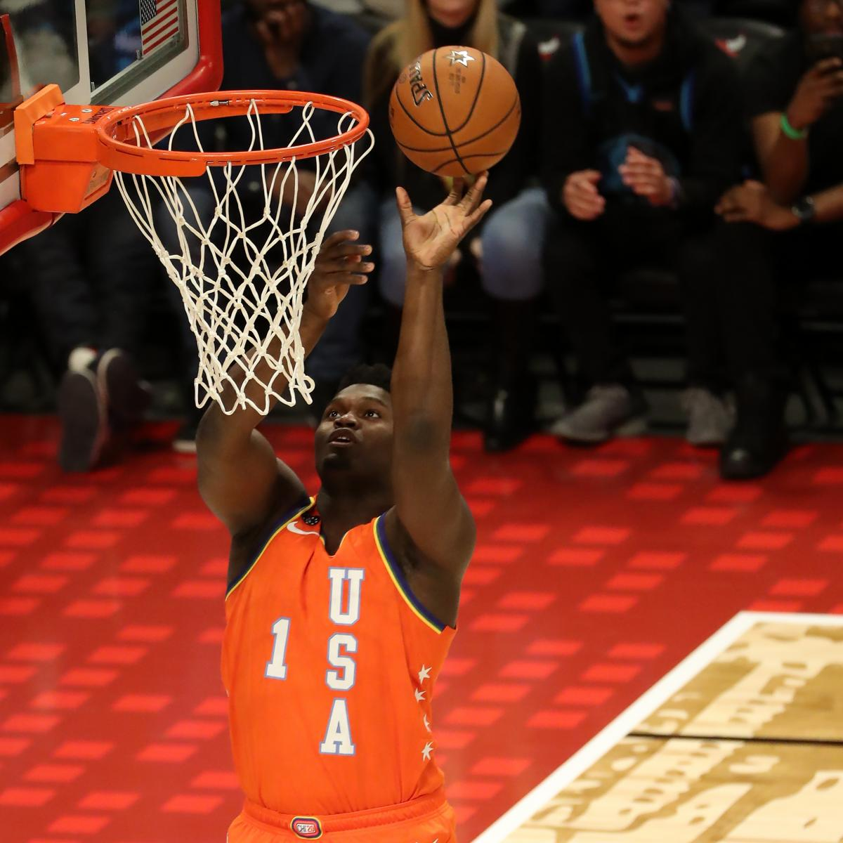 Video: Zion Williamson Tilts Backboard with Big Dunk in NBA Rising Stars Game