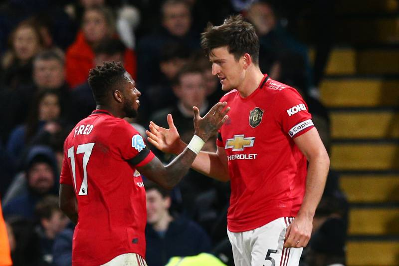 LONDON, ENGLAND - FEBRUARY 17: Harry Maguire of Manchester United celebrates scoring his side's second goal with team mate Fred during the Premier League match between Chelsea FC and Manchester United at Stamford Bridge on February 17, 2020 in London, United Kingdom. (Photo by Craig Mercer/MB Media/Getty Images)