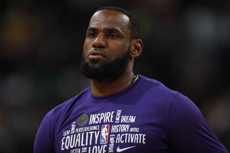 Los Angeles Lakers forward LeBron James (23) in the first half of an NBA basketball game Wednesday, Feb. 12, 2020, in Denver. (AP Photo/David Zalubowski)