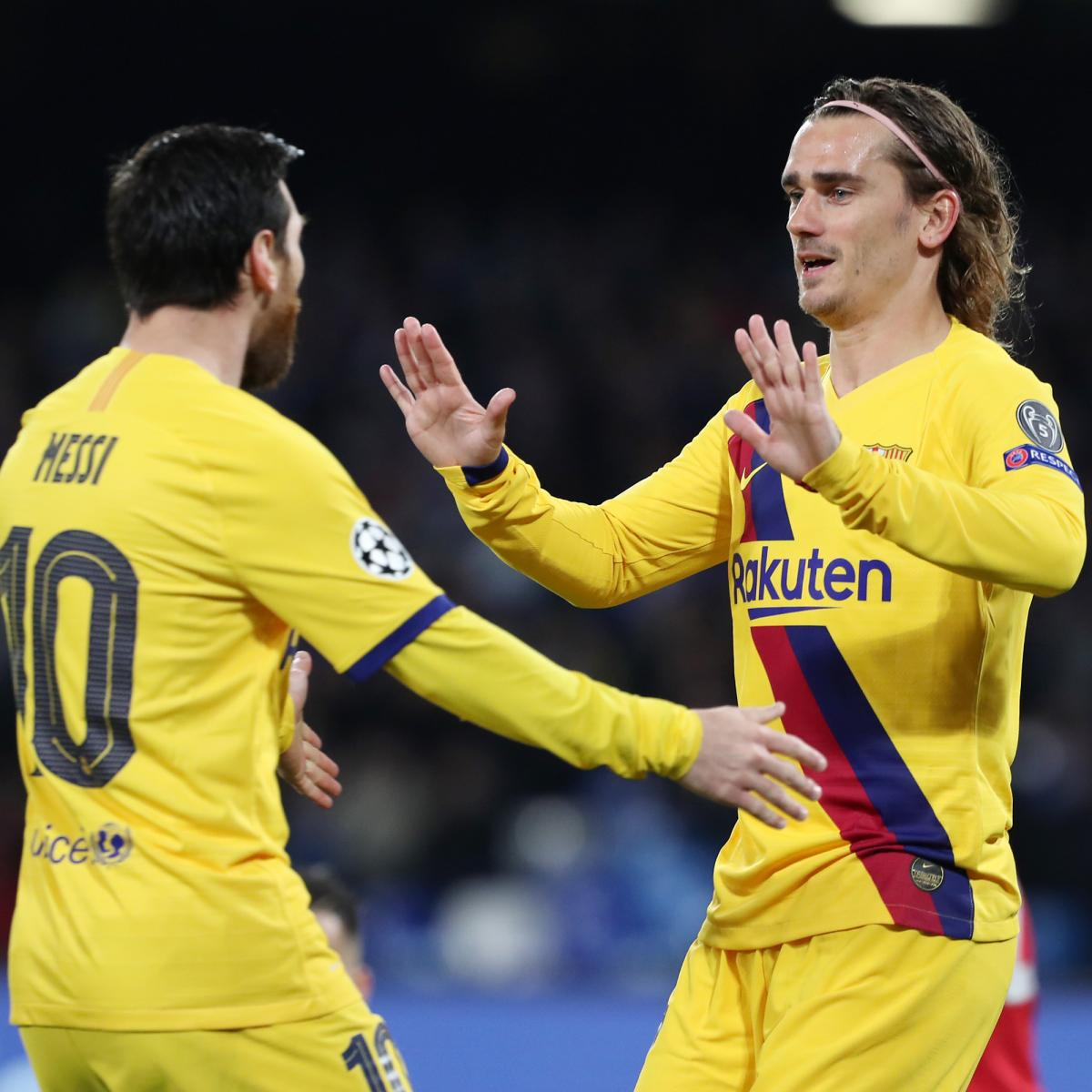 Antoine Griezmann Scores as Barcelona Draw 1-1 with Napoli in UCL Leg 1