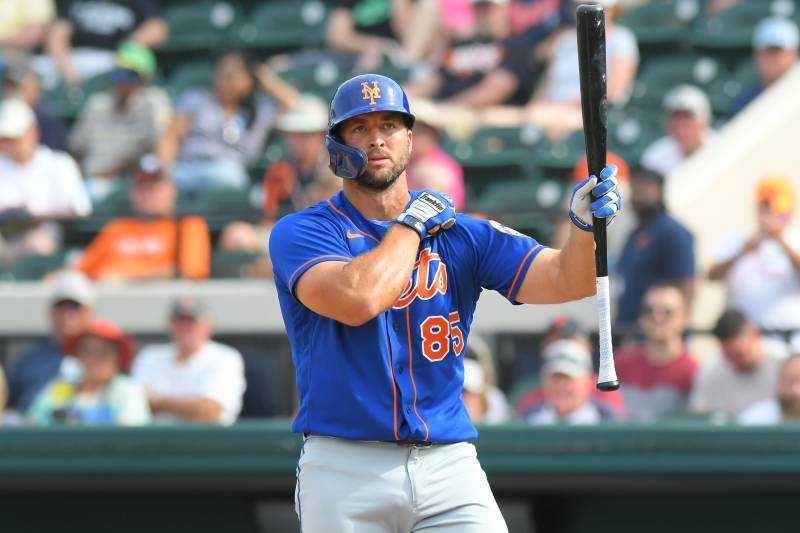 LAKELAND, FL - FEBRUARY 25:  Tim Tebow #85 of the New York Mets looks on while batting during the Spring Training game against the Detroit Tigers at Publix Field at Joker Marchant Stadium on February 25, 2020 in Lakeland, Florida. The Tigers defeated the Mets 9-6.  (Photo by Mark Cunningham/MLB Photos via Getty Images)