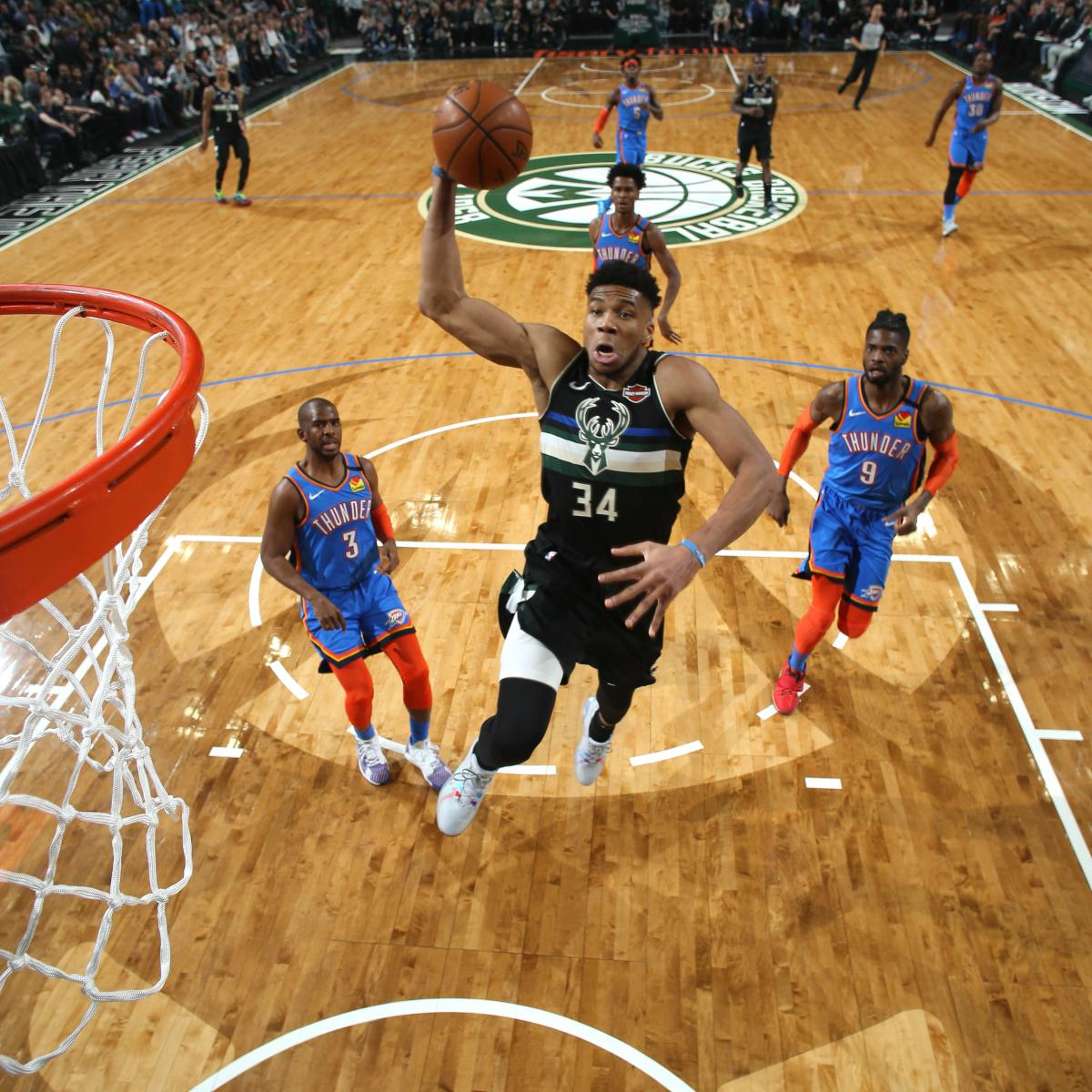 Giannis Dominates with 32 as Bucks Blow out Chris Paul, Thunder by 47 Points