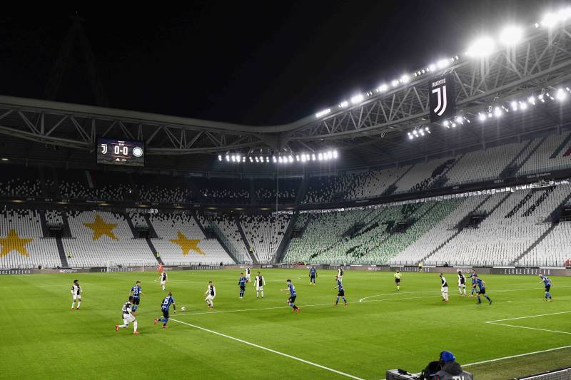 The Serie A football match between Inter Milan and Juventus at the Allianz Stadium in Turin, Italy, Sunday 8 March 2020. The match was played in a closed stadium as a measure against coronavirus infection. (Marco Alpozzi / LaPresse via AP)