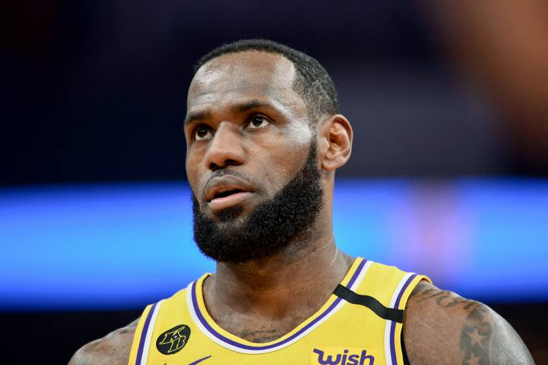Los Angeles Lakers forward LeBron James (23) plays in the first half of an NBA basketball game against the Memphis Grizzlies Saturday, Feb. 29, 2020, in Memphis, Tenn. (AP Photo/Brandon Dill)