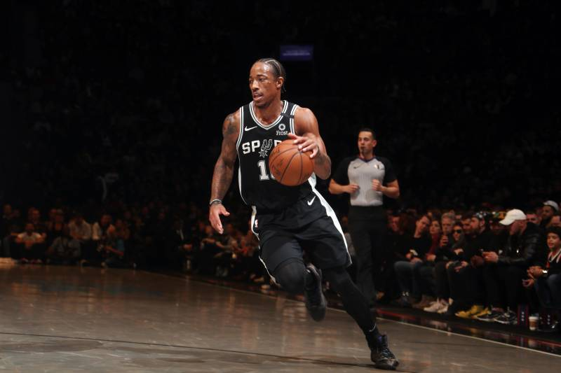 BROOKLYN, NY - MARCH 6: DeMar DeRozan #10 of the San Antonio Spurs handles the ball during the game against the Brooklyn Nets on March 6, 2020 at Barclays Center in Brooklyn, New York. NOTE TO USER: User expressly acknowledges and agrees that, by downloading and or using this Photograph, user is consenting to the terms and conditions of the Getty Images License Agreement. Mandatory Copyright Notice: Copyright 2020 NBAE (Photo by Nathaniel S. Butler/NBAE via Getty Images)