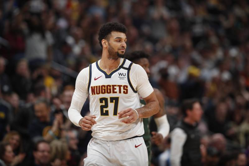 Denver Nuggets guard Jamal Murray (27) in the second half of an NBA basketball game Monday, March 9, 2020, in Denver. The Nuggets won 109-95. (AP Photo/David Zalubowski)