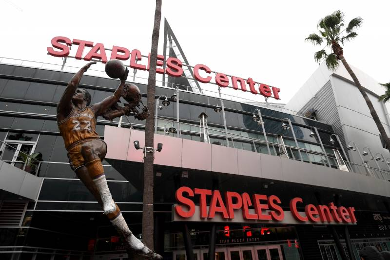 LOS ANGELES, CALIFORNIA - MARCH 12:  Exterior of Staples Center after both the NHL and NBA postpone seasons due to corona virus concerns at Staples Center on March 12, 2020 in Los Angeles, California. (Photo by Harry How/Getty Images)