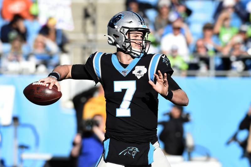 Carolina Panthers quarterback Kyle Allen (7) passes against the Seattle Seahawks during the second half of an NFL football game in Charlotte, N.C., Sunday, Dec. 15, 2019. (AP Photo/Mike McCarn)