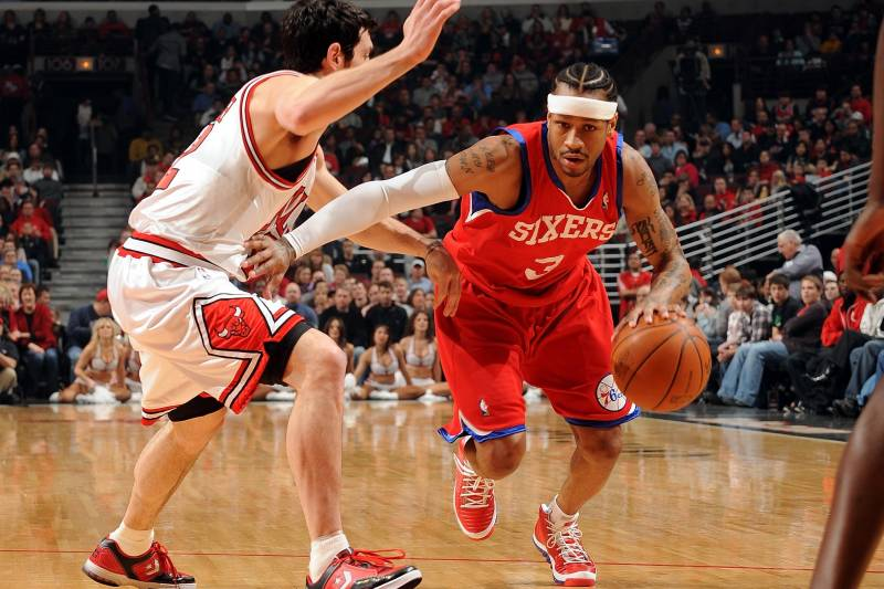 CHICAGO - FEBRUARY 20: Allen Iverson # 3 of the Philadelphia 76ers makes a move to the basket against the Chicago Bulls' Kirk Hinrich # 12 during a game at the United Center on February 20, 2010 in Chicago, Illinois. The bulls won 122-90. USER NOTE: You expressly acknowledge and agree that by downloading and / or using this photograph, you agree to the terms and conditions of the Getty Images license agreement. Mandatory Copyright Notice: Copyright 2010 NBAE (photo by Randy Belice / NBAE via Getty Images)