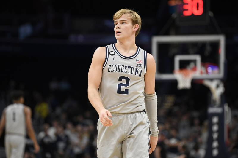 Georgetown guard Mac McClung (2) stands on the court during the second half of an NCAA college basketball game against Creighton, Wednesday, Jan. 15, 2020, in Washington. Georgetown won 83-80. (AP Photo/Nick Wass)