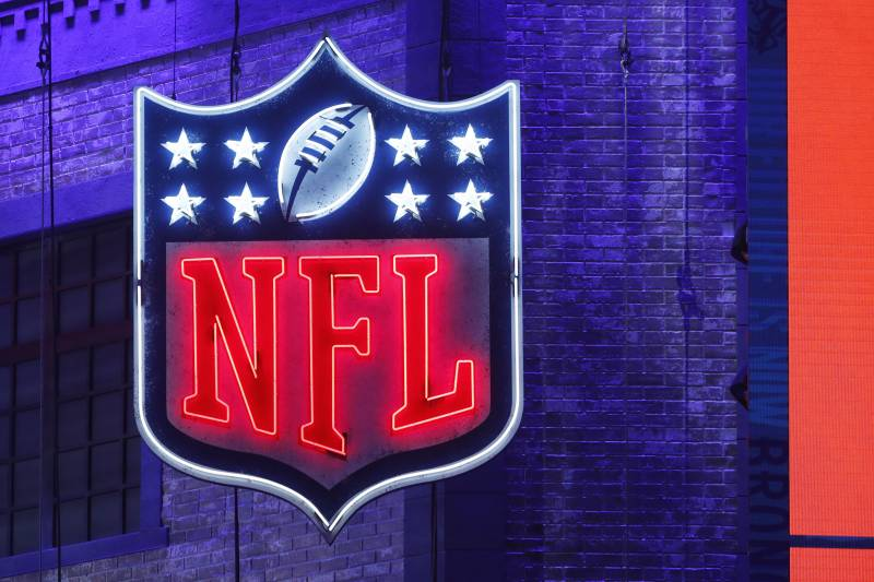 NASHVILLE, TN - APRIL 25: Detail view of the NFL shield logo in neon lights during the first round of the NFL Draft on April 25, 2019 in Nashville, Tennessee. (Photo by Joe Robbins/Getty Images)