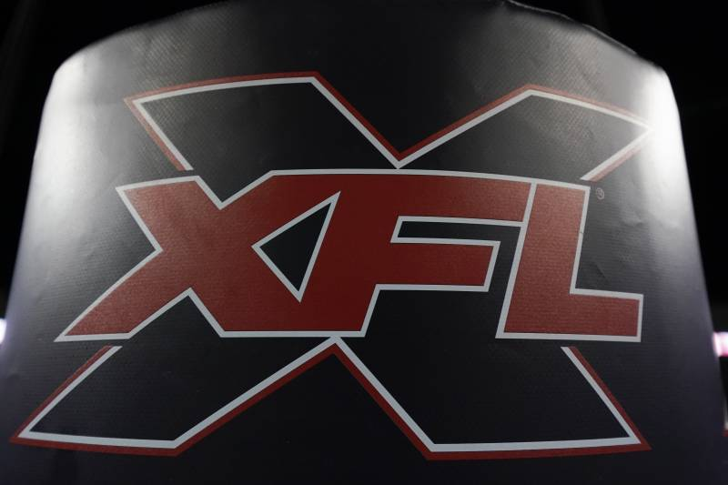 The XFL logo is on a goal post pad after an XFL football game, Saturday, Feb. 8, 2020, in Houston. (AP Photo/Matt Patterson)