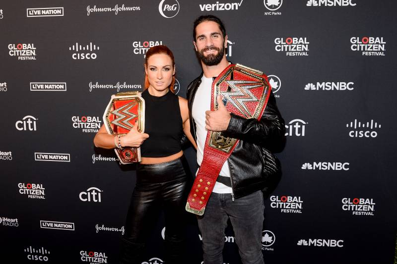 NEW YORK, NEW YORK - SEPTEMBER 28: Becky Lynch and Seth Rollins attend the 2019 Global Citizen Festival: Power The Movement in Central Park on September 28, 2019 in New York City. (Photo by Noam Galai/Getty Images for Global Citizen)