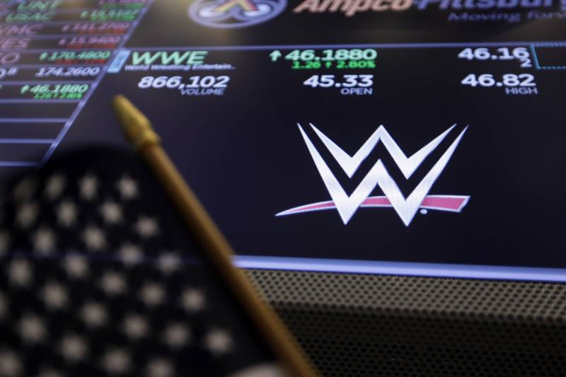 The logo for World Wrestling Entertainment, Inc., WWE, appears above a trading post on the floor of the New York Stock Exchange, Tuesday, Feb. 18, 2020. (AP Photo/Richard Drew)
