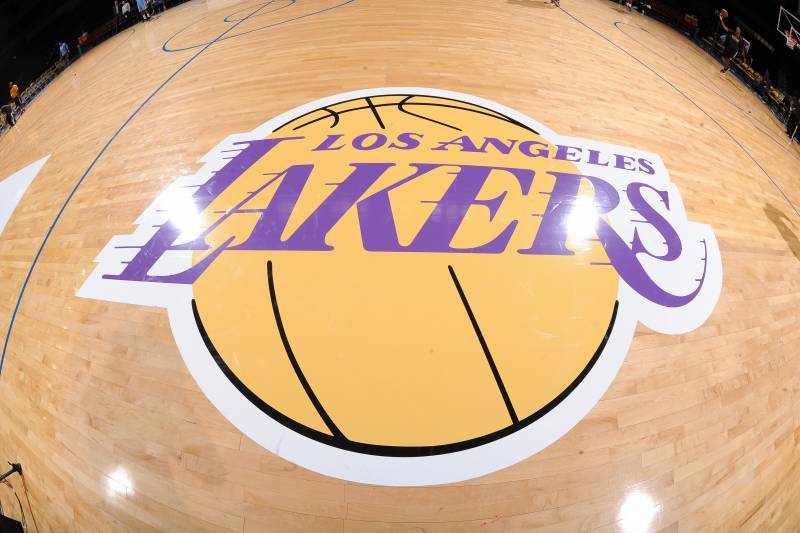 SAN DIEGO, CA- OCTOBER 6: A shot of the Los Angeles Lakers logo before they take on the Denver Nuggets at the Valley View Sports Arena in San Diego, California on October 6, 2014 . NOTE TO USER: User expressly acknowledges and agrees that, by downloading and/or using this Photograph, user is consenting to the terms and conditions of the Getty Images License Agreement. Mandatory Copyright Notice: Copyright 2014 NBAE (Photo by Noah Graham /NBAE via Getty Images)
