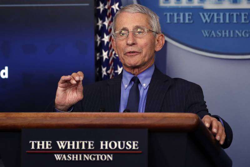 Dr. Anthony Fauci, director of the National Institute of Allergy and Infectious Diseases, speaks about the coronavirus in the James Brady Press Briefing Room of the White House, Friday, April 17, 2020, in Washington. (AP Photo/Alex Brandon)