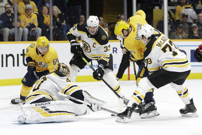 Boston Bruins goaltender Tuukka Rask (40), of Finland, reaches for the puck as Nashville Predators center Mikael Granlund (64), of Finland, and center Matt Duchene, second from right, battle for it in the second period of an NHL hockey game Tuesday, Jan. 7, 2020, in Nashville, Tenn. (AP Photo/Mark Humphrey)
