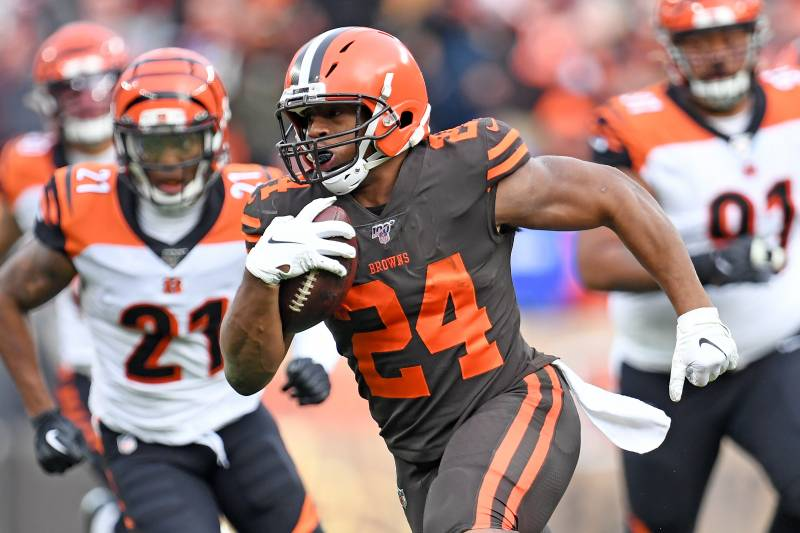 CLEVELAND, OHIO - DECEMBER 8: Returning Nick Chubb # 24 of the Cleveland Browns goes for a second-half win against the Cincinnati Bengals at FirstEnergy Stadium on December 8, 2019 in Cleveland, Ohio. Browns defeated Bengals 27-19. (Photo by Jason Miller / Getty Images)