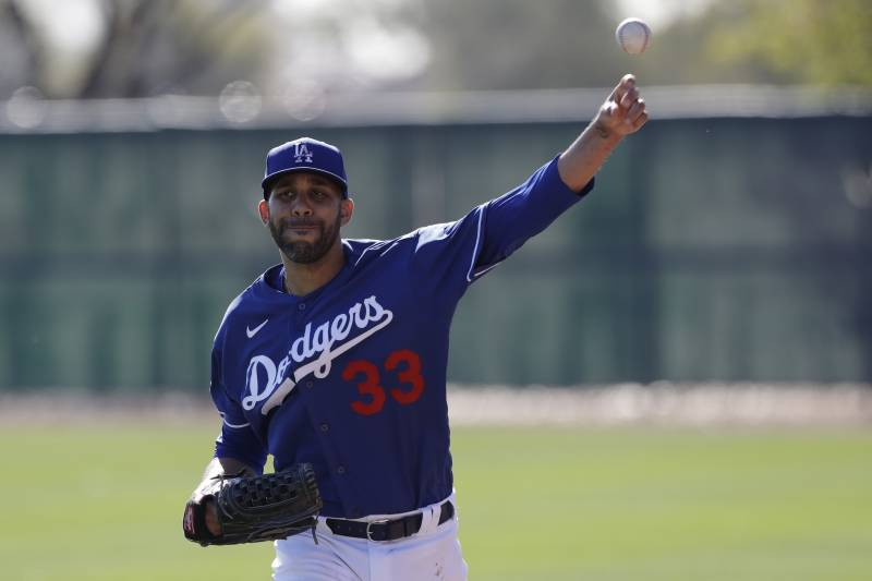 Los Angeles Dodgers pitcher David Price poses during spring baseball training Friday, February 14, 2020, in Phoenix. (AP Photo / Gregory Bull)
