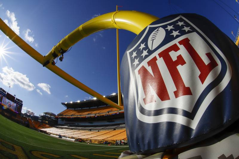 This is the Salute to Service goalpost pad on the field at Heinz Field before warmups for an NFL football game between the Pittsburgh Steelers and the Indianapolis Colts in Pittsburgh, Sunday, Nov. 3, 2019. (AP Photo/Gene J. Puskar)
