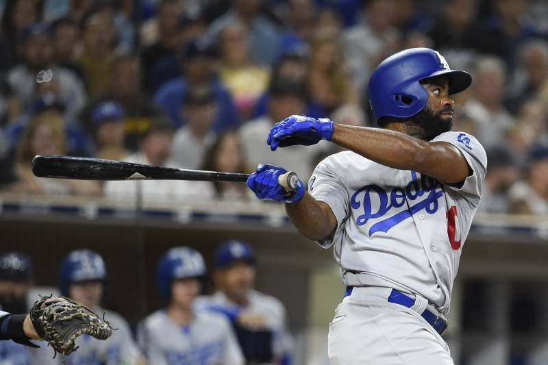 San Diego, California-July 12: Andrew Tors #60 of the Los Angeles Dodgers beat the RBI singles in the seventh game of the baseball game, the game was held at PETCO Park in San Diego, California on July 12, 2018 , Against Santiago Padres. (Photo by Dennis Poroy/Getty Images)